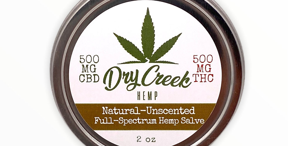 Natural Unscented Salve- 1:1 500mg Delta-8 THC/ 500mg CBD Topical Relief