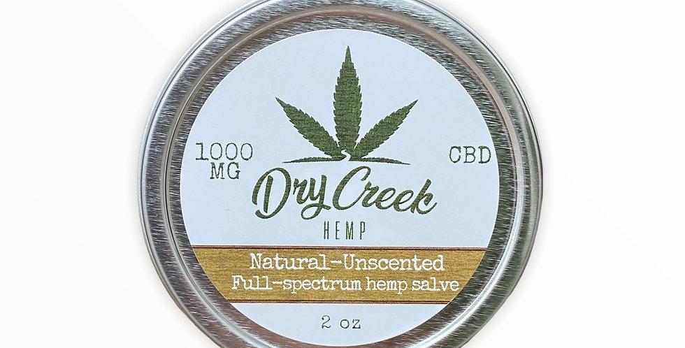 Natural-Unscented Full-spectrum hemp salve 1000mg 2oz