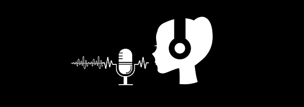 Podcasting logo with a female podcaster silhouette speaking to the microphone black background headphones woman podcast soundwave