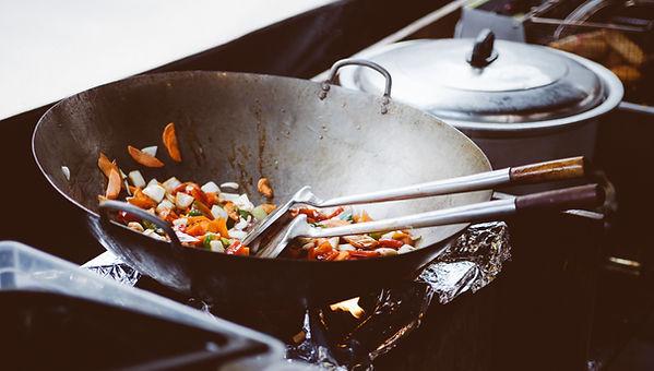 Stir Fry pan at shared kitchen rentals san diego