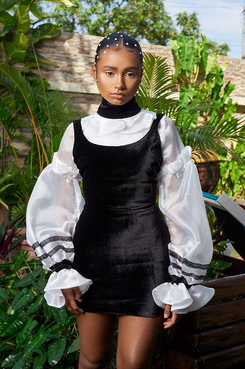 French Black velvet mini dress