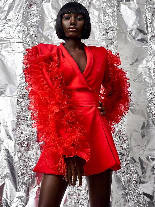 French Silk Blazer Dress - Red