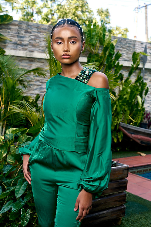 Green shiffon jumpsuit