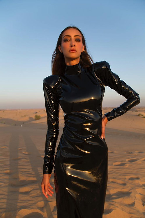 Black Australian leather off kneel length turtle neck dress