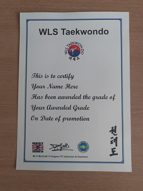 WLS TKD Printed Grading Certificate
