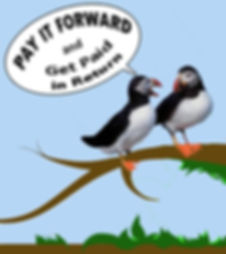 Informative image of cartoon puffins explaining how the referral program works at ProConnect