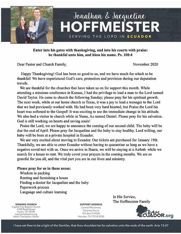 November 2020 Hoffmeister Prayer Letter.