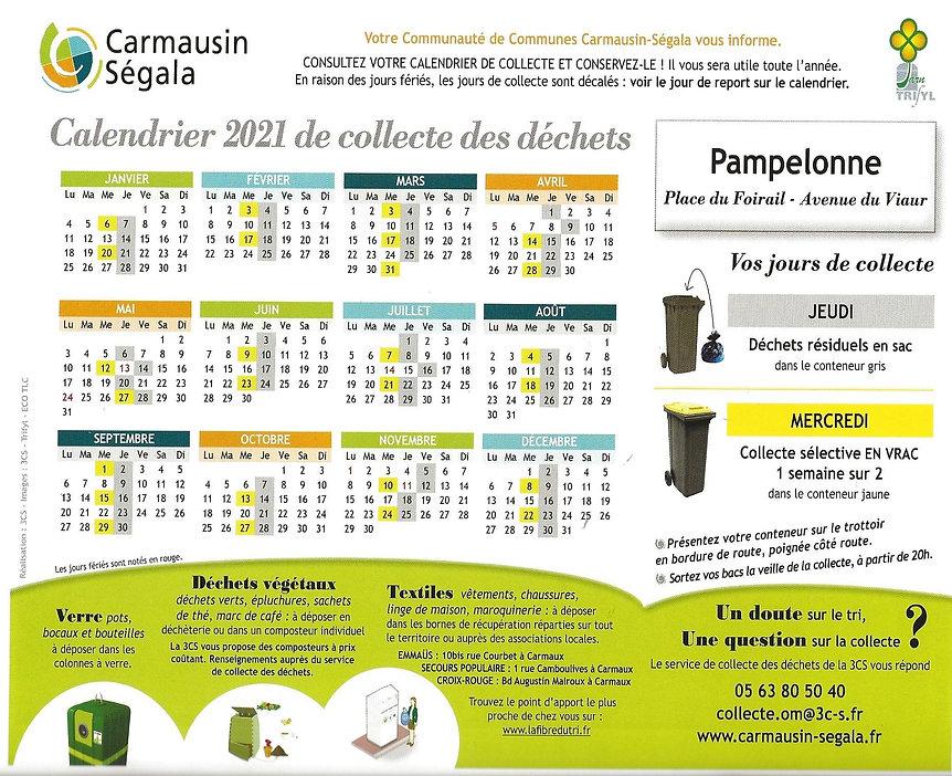 calendrier 2021 de collecte des déchets.