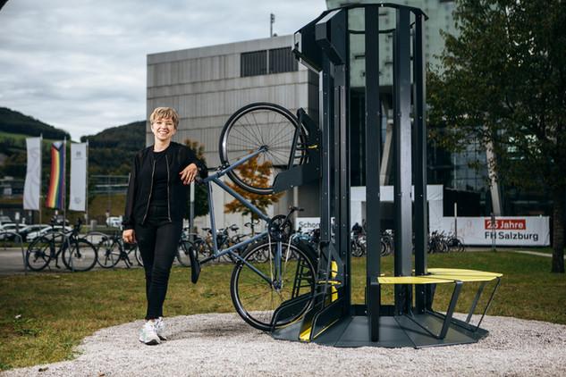 Die FH Salzburg hat einen Bikeparker
