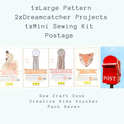 1 Large Sewing Pattern, 2 Dreamcatcher Project Kits, 1 Mini Project Kit