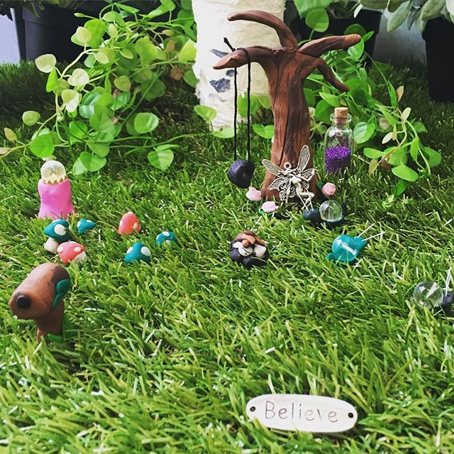 Make a #fairygarden at our #schoolholidays #workshops complete with #tree #tyreswing #campfire #mailbox #toadstools #flowers #snails #crysta