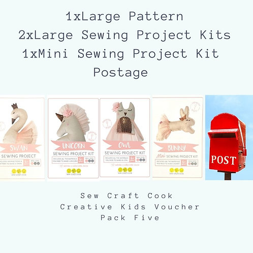 1 Large Pattern, 2 Large Sewing Project Kits, 1 Mini Sewing Project Kit