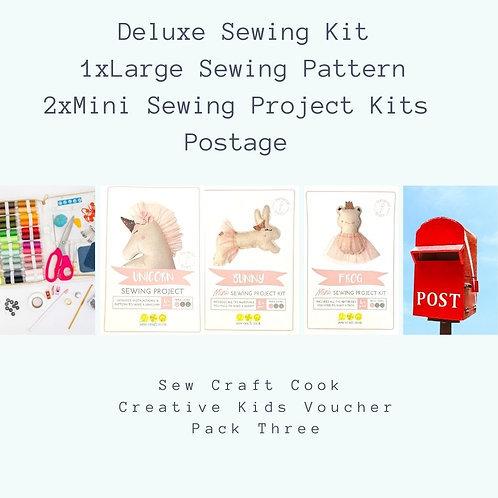 Deluxe Sewing Kit + 1 Large Sewing Pattern+ 2 Mini Sewing Project Kits