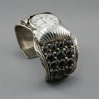 Silver & Onyx Watch