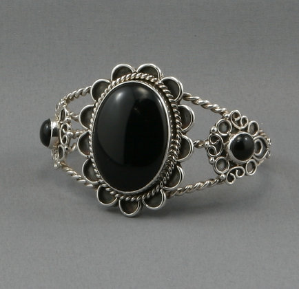 Black Onyx & Silver Bracelet