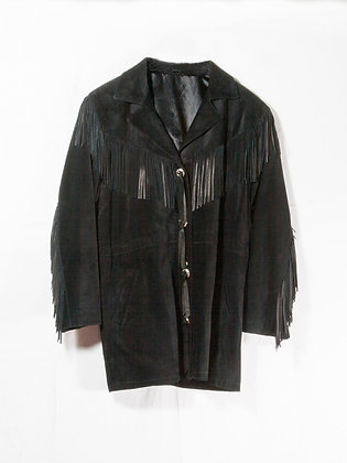 Fringed Black Suede Coat