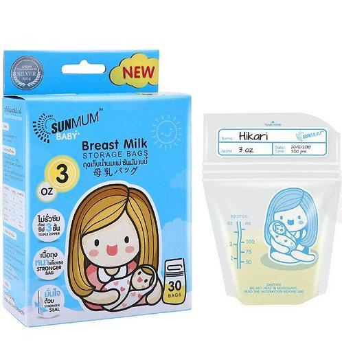 Sunmum Blue 3oz Breast Milk Storage Bags (30's)