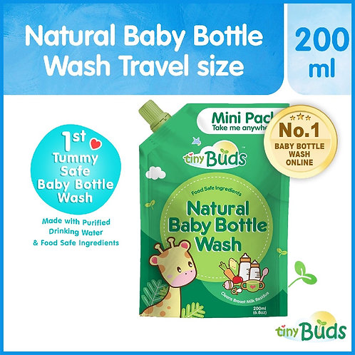 Tiny Buds Natural Baby Bottle Wash Travel Pack (200ml)