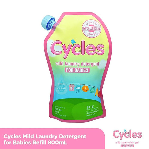 Cycles Mild Laundry Liquid Detergent 800ml Refill