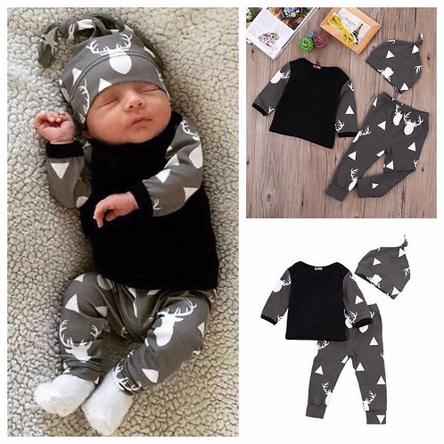 CLEARANCE SALE! 3 pcs. Infant Baby Outfit (Random Designs)