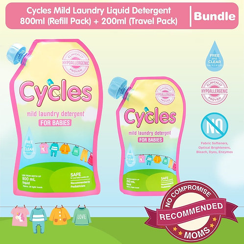 Cycles Mild Laundry Liquid Detergent 800ml (Refill Pack) + 200ml (Travel Pack)