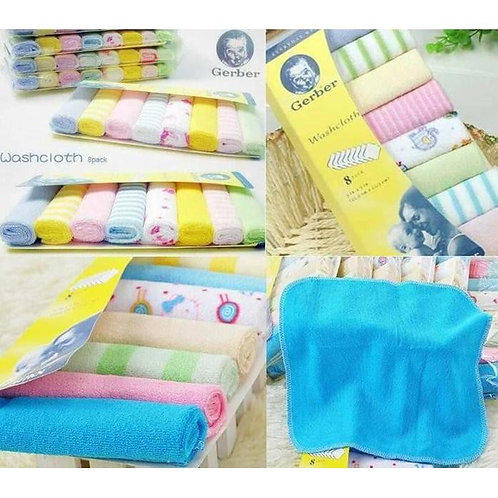 Gerber 8 Pieces Pack Washcloth (Random Designs)