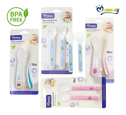 MomEasy Baby Spoon and Fork Set, 12m+