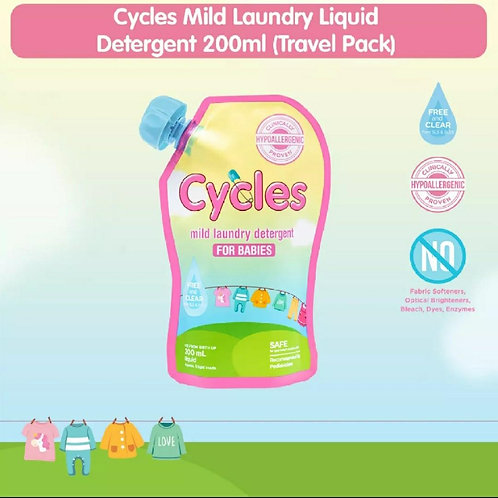 Cycles Mild Laundry Liquid Detergent 200ml (Travel Pack)