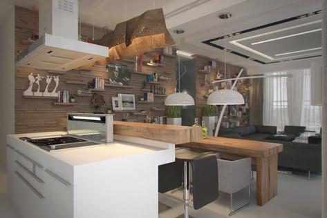 Interior design of a contemporary apartment. Living room