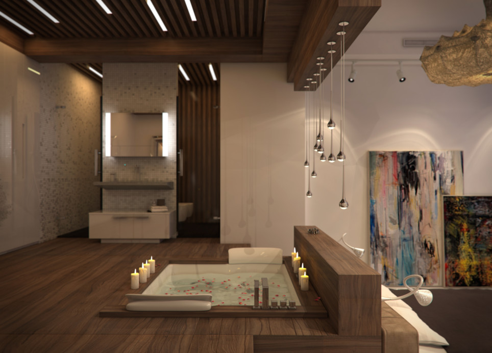Interior design of a contemporary apartment. Master bedroom with en-suite bathroom
