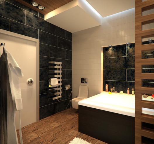 Interior design of a contemporary apartment. Bathroom