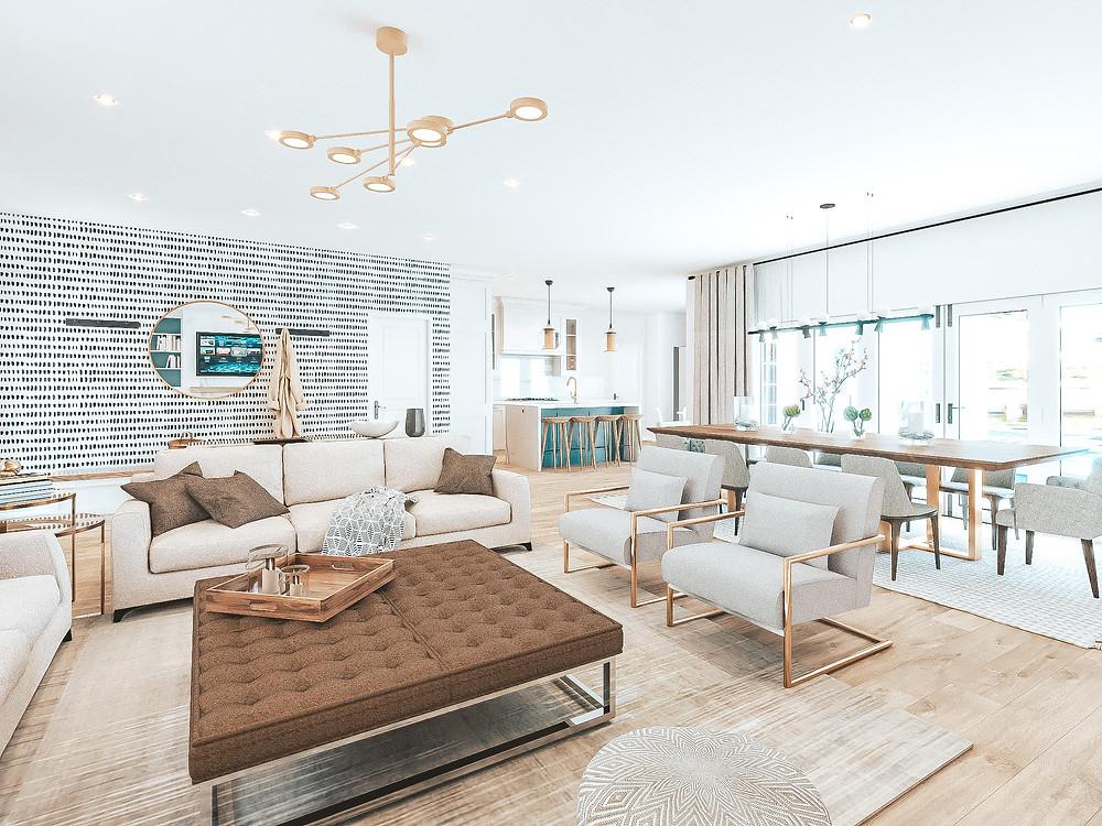 e-design Fort Lauderdale, Florida, interior design kitchen, living room open-plan