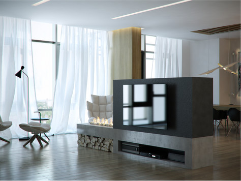 Contemporary apartment. Living room, open kitchen
