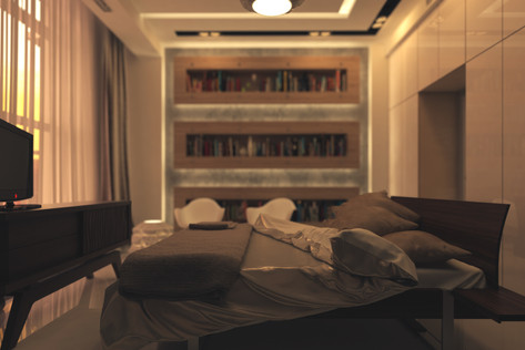 Interior design of a contemporary apartment. Guest bedroom