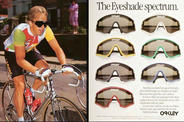 Greg LeMond usando o modelo Eyeshade da Oakley. Foto: Pinterest