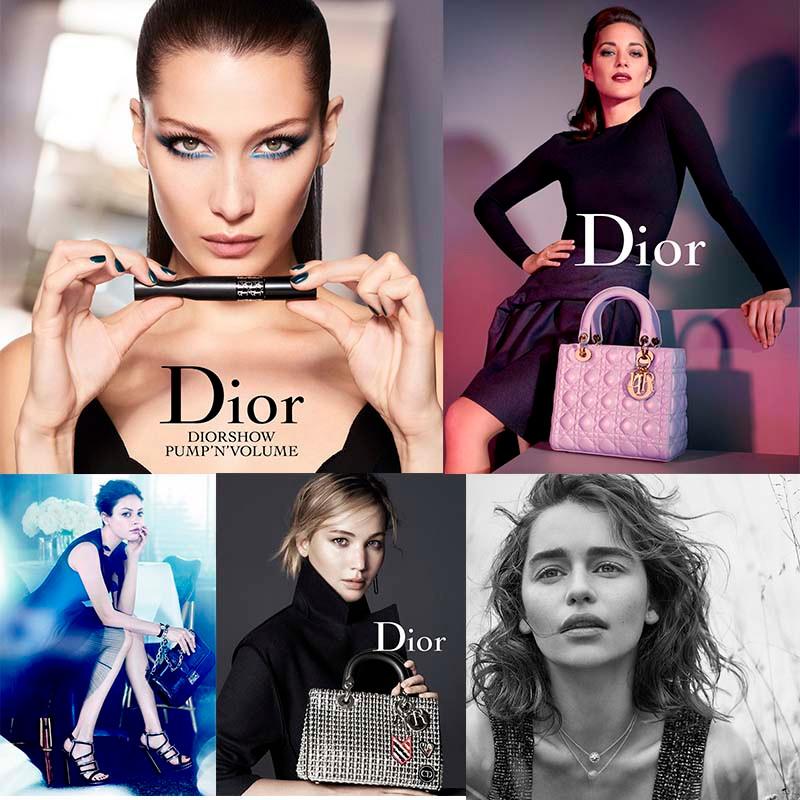 Foto: Bella Hadid, Marion Cotillard, Mila Kunis, Jennifer Lawrence e Emilia Clark como Miss Dior