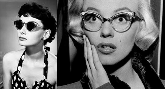 Foto: Audrey Hepburn e Marilyn Monroe usando modelos Cat Eye