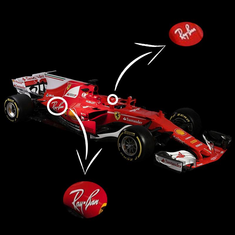 Foto: carro modelo SF16-H da Scuderia Ferrari com o logo da Ray-Ban
