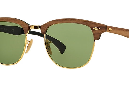 Ray Ban Clubmaster Wood - Marrom Madeira/Verde - 3016M 11824E 51