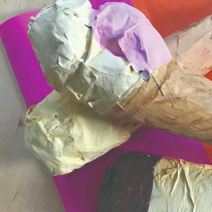 Paper Mache Ice Cream Cones Project