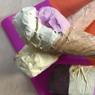 Paper Mache Ice Cream Cones Tutorial