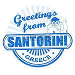 Greetings fron Santorini sign