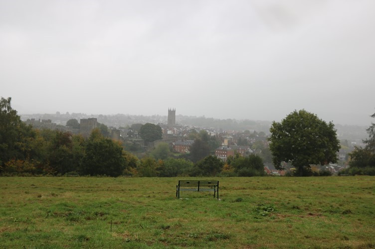 A Seat Overlooking Ludlow from Whitcliffe Common