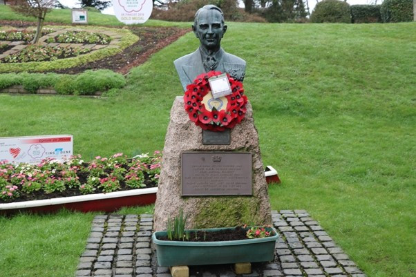 Remembrances are often placed here in front of and around the Tennant Bust