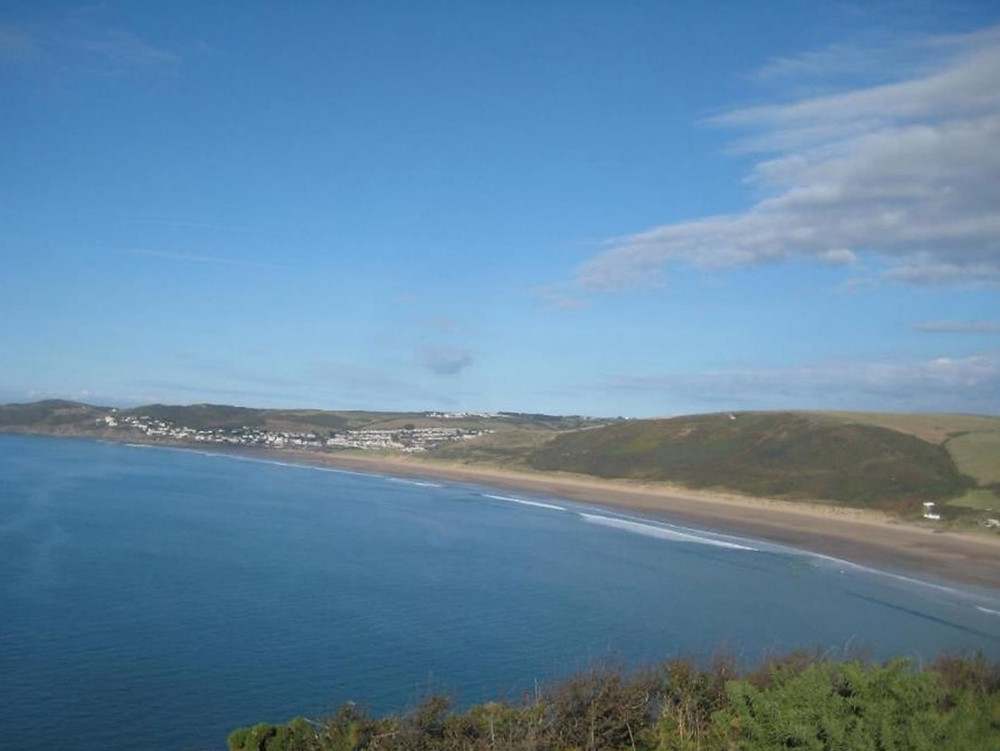 The expanse of the sandy beach at Woolacombe Beach