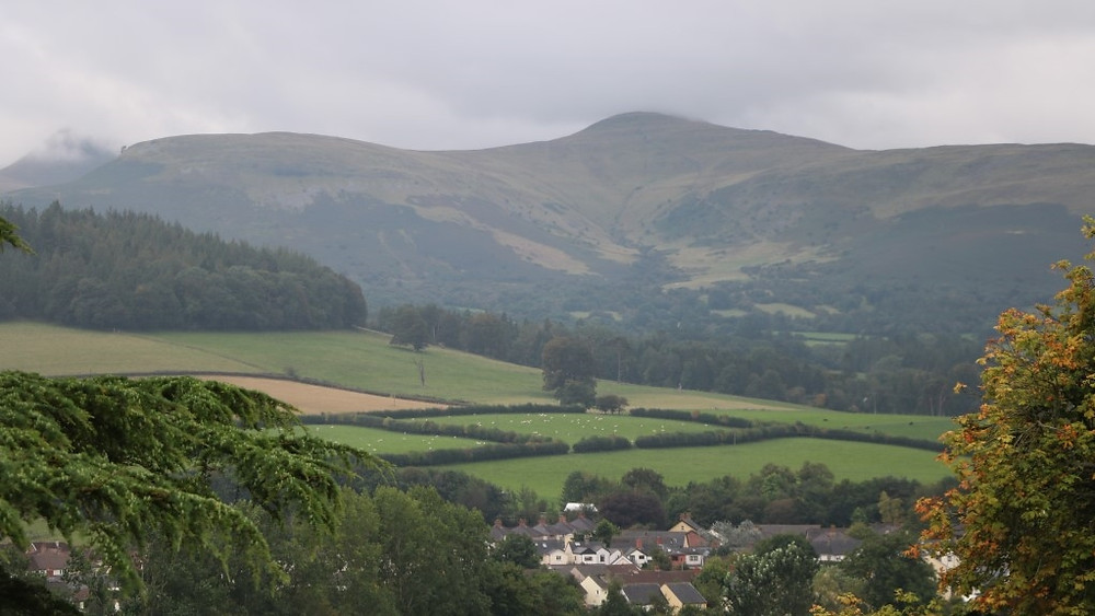 The outlook on to the Brecon Beacons beyond