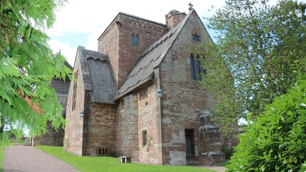 The red sandstone of Brockhampton Church