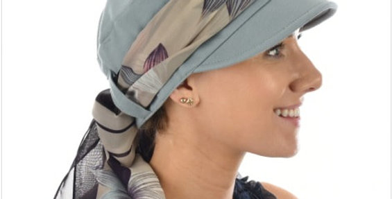 Low Backed Jersey Cap With Scarf (Slate)