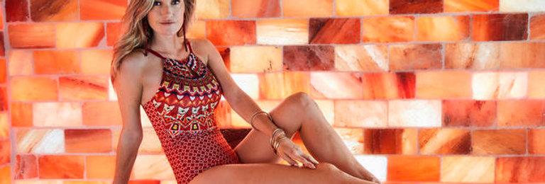 Amoena Manda One Piece Non UW Mastectomy Swimsuit Purple/Orange/Black 44591