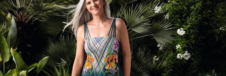 Amoena Havana One-Piece Bandeaux Mastectomy Swimsuit - Dark Jade / Multi 71415